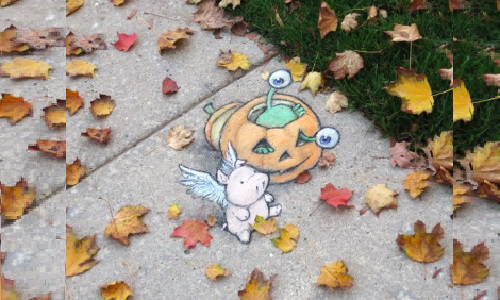 Leaf strewn slug go lantern wide lores. Funny street art by American self-taught artist David Zinn