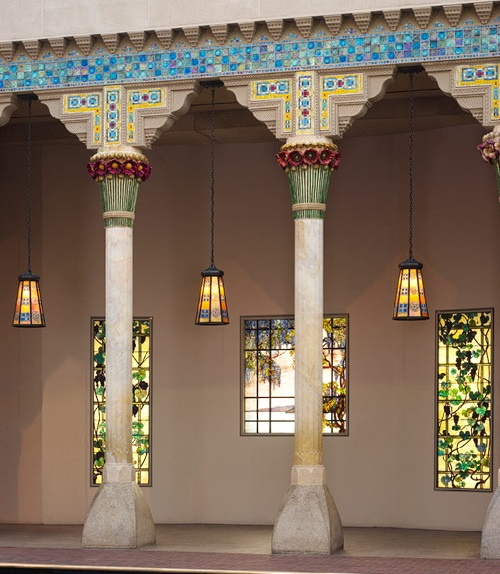 Loggia from Laurelton Hall, Oyster Bay, New York, ca. 1905. Louis Comfort Tiffany. Limestone, ceramic, glass