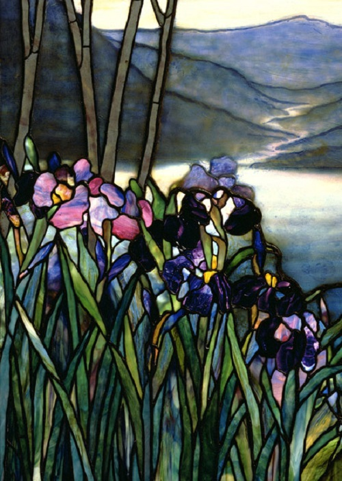 Magnolia and Irises, ca. 1908. Louis Comfort Tiffany Studios. Leaded Favrile glass