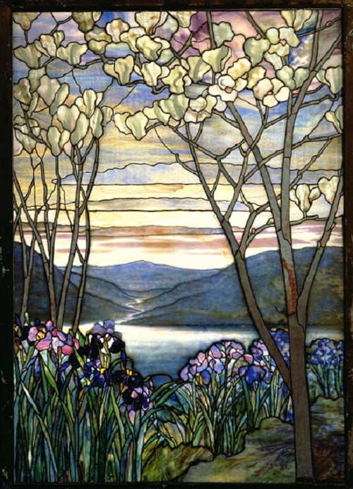 Magnolia and Irises, ca. 1908. Louis Comfort Tiffany stained glass art
