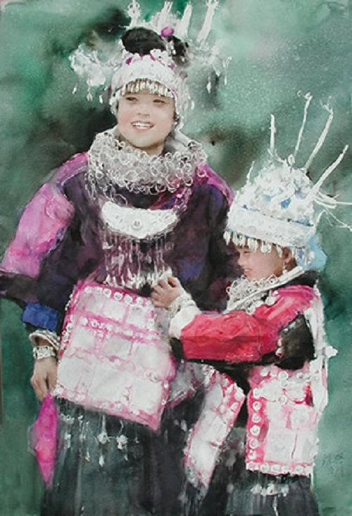 Miao girls in full dress. Chinese watercolorist Guan Weixing