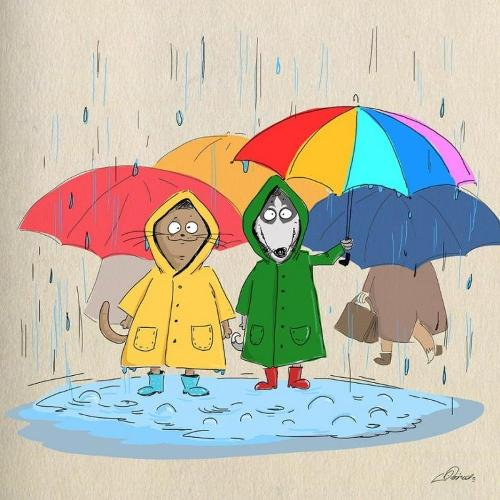 More bright things - coats, boots and umbrellas. Drawing from the series 'Ten reasons to love autumn' by Russian illustrator Bird Born