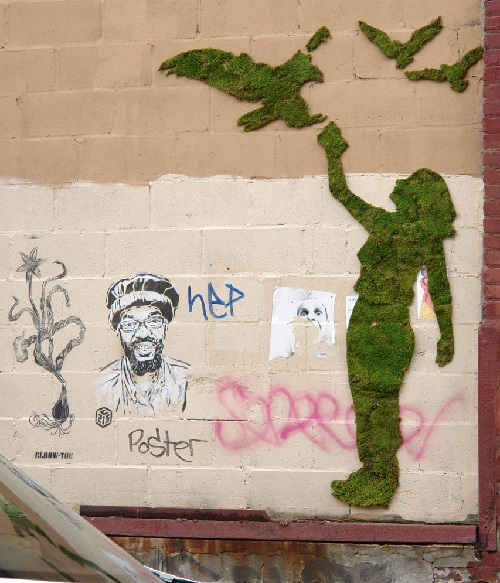 Moss graffiti on city buildings