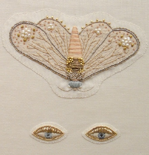 Moth and eyes brooches