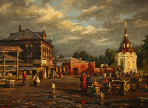 On the market square of Dmitrov