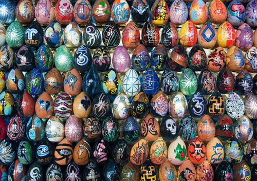 Painted Egg Mosaics (closeup). Artwork by Ukrainian artist Oksana Mas