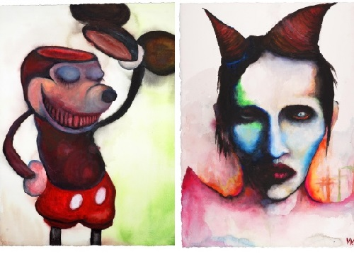 Famous NOT artists. Painting by Marilyn Manson
