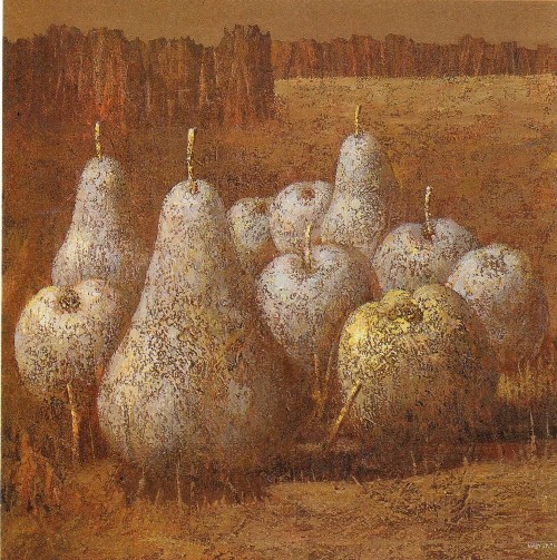 Grapes and apple. Painting by Ukrainian artist Ivan Marchuk