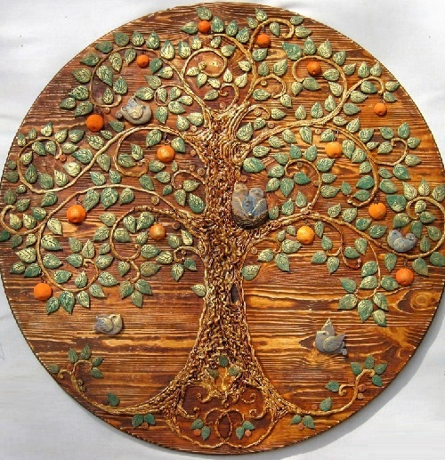 Panno Orange, from the series of Tree of Life. Keramo Mano ceramic art studio
