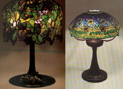 Peacock and grape lamp