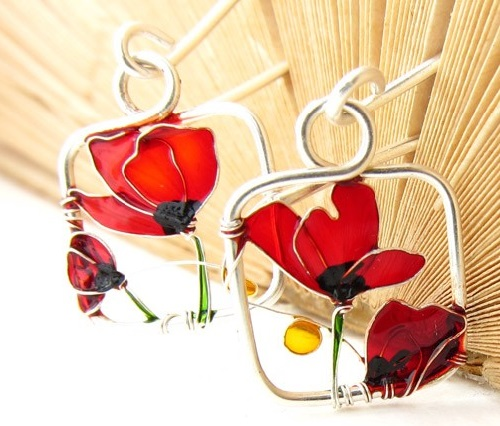 Red Poppies flower Earrings, sterling silver wire and colorful glass resins. Made by Bulgarian jeweler Elitsa Altanova