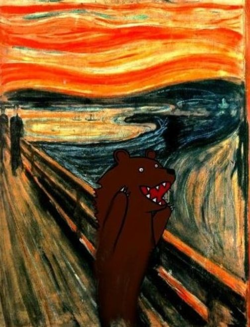 Russian bear in Scream pop art