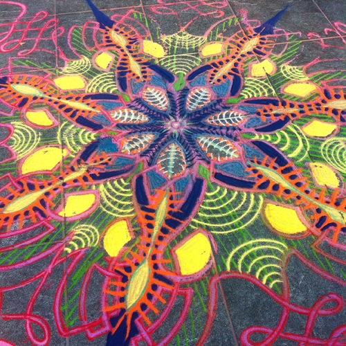 Sand painting by American artist Joe Mangrum