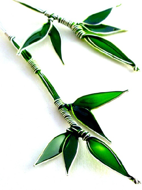 Silver Bamboo sterling silver earrings, leaves of beautiful emerald green color. Made by Bulgarian jeweler Elitsa Altanova