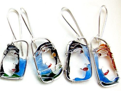 Silver Faces wire jewelry of silver wire and glass resins. Made by Bulgarian jeweler Elitsa Altanova