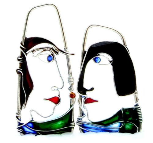 Silver Faces wire jewelry of silver wire and glass resins. Made by Bulgarian art jeweler Elitsa Altanova