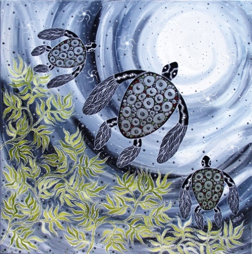 Silver Turtles. Aboriginal art by Melanie Hava