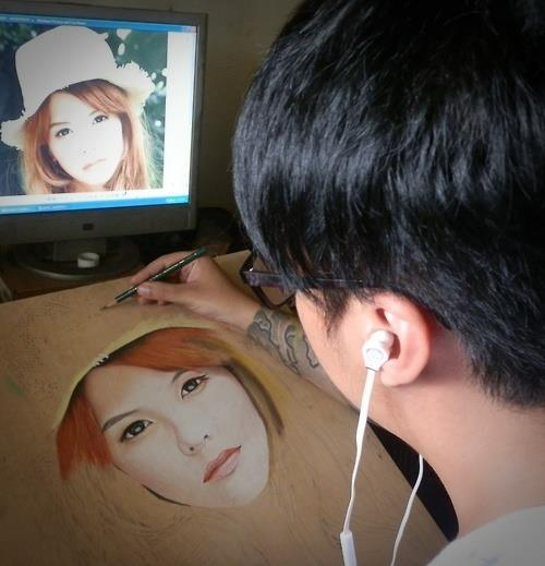 Soft Pastel On wood. Work in progress. Hyperrealistic drawing by Singaporean artist Ivan Hoo