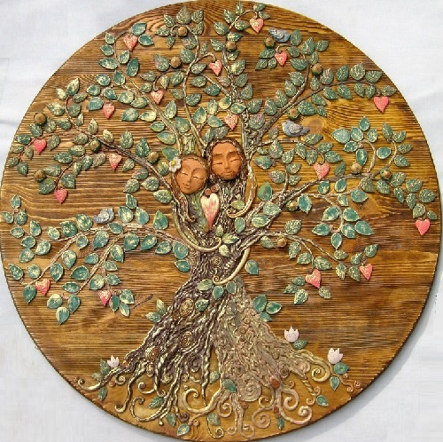 Symbolism handmade. Panel 'Bliss' from the series of works 'The Tree of Life'. Keramo Mano ceramic art studio