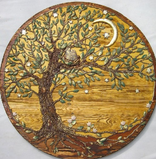 Panel 'Happiness under stars' from the series of works 'The Tree of Life'. Keramo Mano ceramic art studio