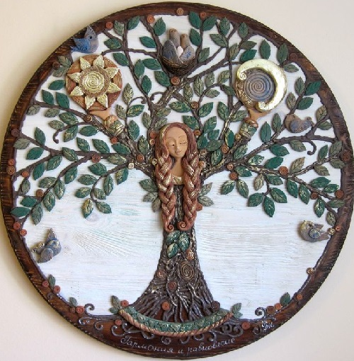 Symbolism handmade. Panel 'Harmony and balance' from the series of works 'The Tree of Life'. Keramo Mano ceramic art studio