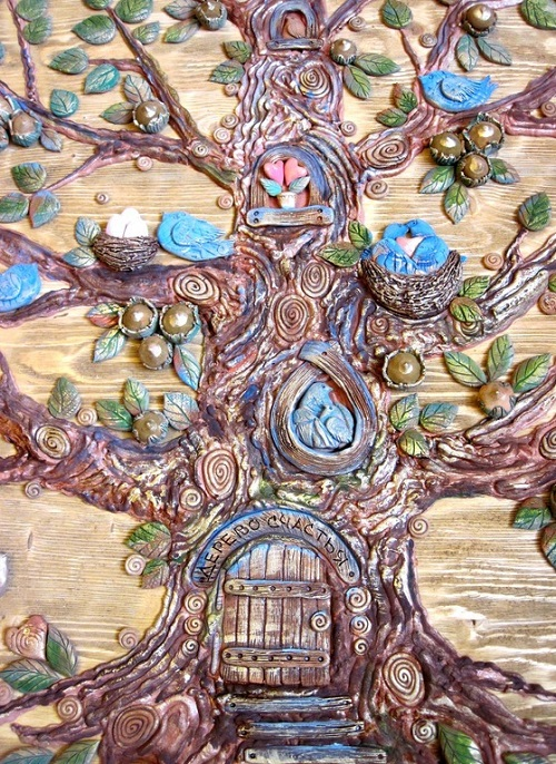 Symbolism handmade. Panel 'Tree of Happiness' from the series of works 'The Tree of Life'. Keramo Mano ceramic art studio