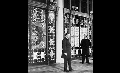 The Entrance Hall of the White House in 1882, showing the newly installed Tiffany glass screens