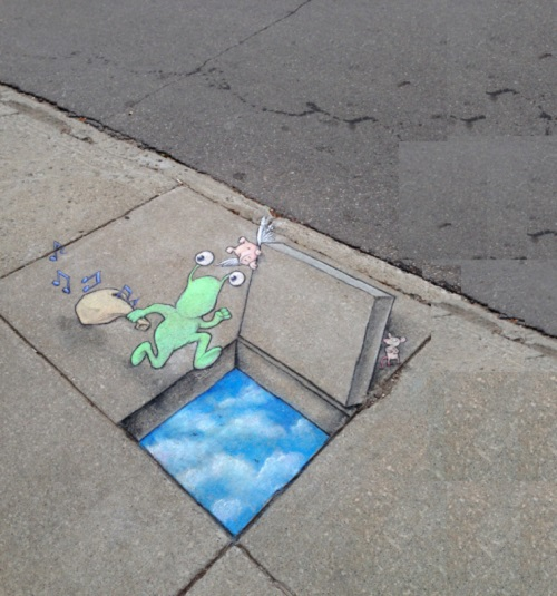 The music thief lores. Funny street art by David Zinn