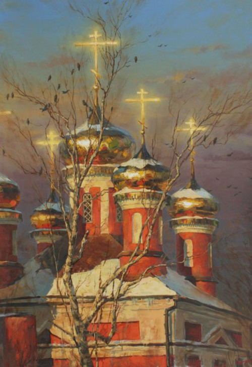 Those evening bells. Landscape painting by Russian artist Stepan Nesterchuk