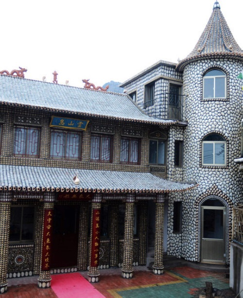 Traditional Chinese house decorated with seashells