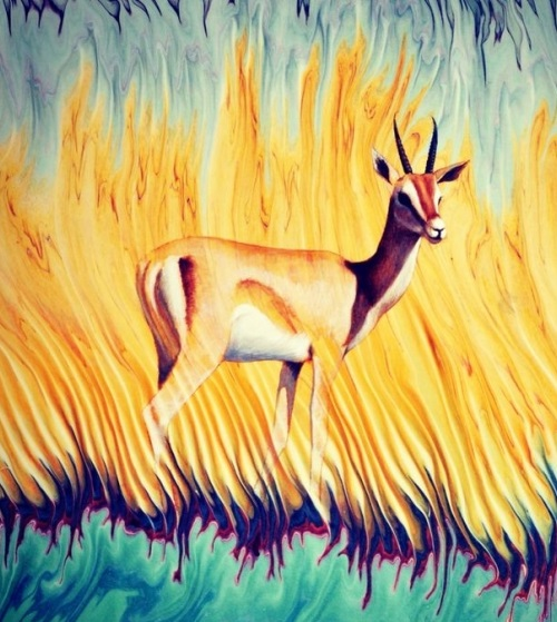 Animal in the steppe. Painting on water surface by Turkish artist Gharib Ai