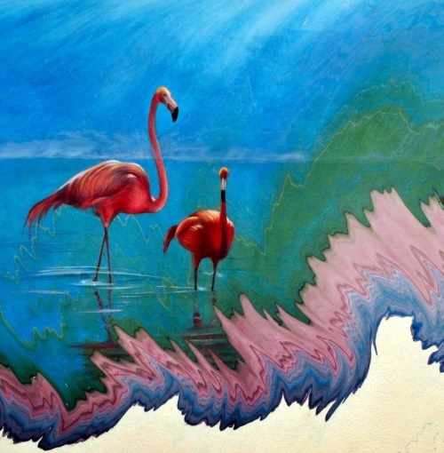 Painting on water surface by Turkish artist Gharib Ai