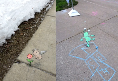 Funny street art by David Zinn