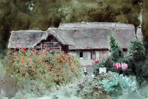 Watercolor painting by Chinese artist Guan Weixing