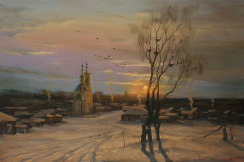 Winter evening in old Dmitrov