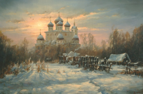 Winter. Dmitrov. Landscape painting by Russian artist Stepan Nesterchuk