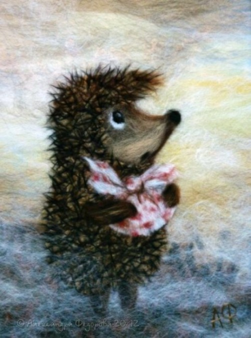 A hedgehog in the mist. Wool painting by Alexandra Fedorova