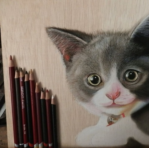 Kitten. Work In progress. Hyperrealistic drawing by Hyperrealist artist Ivan Hoo
