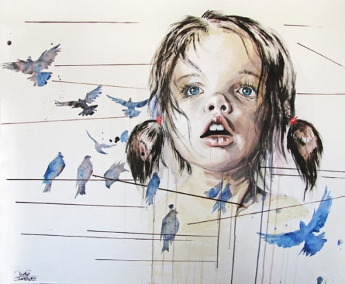 Birds girl, watercolor painting by Russian artist Lora Zombie