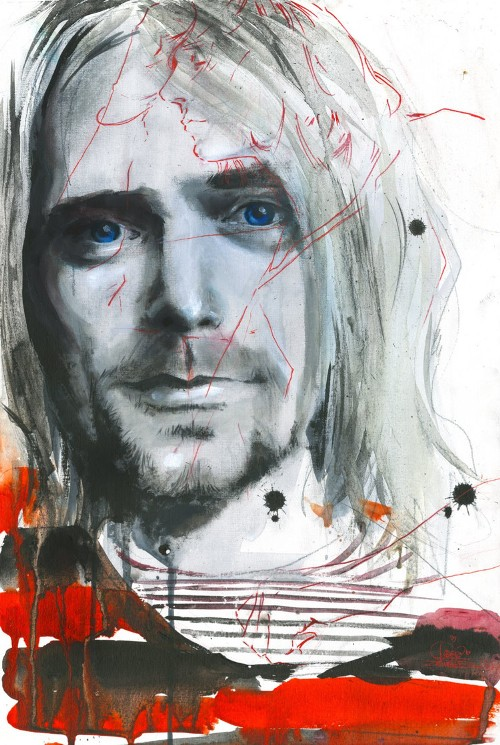 Kurt Cobain, watercolor painting by Russian artist Lora Zombie