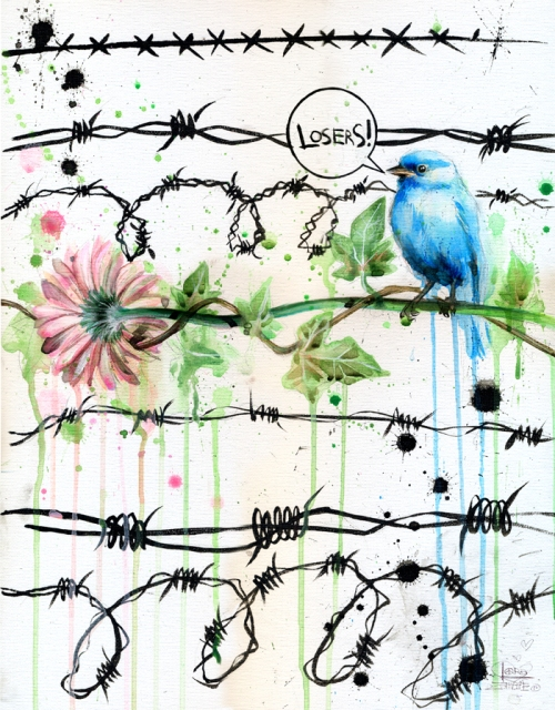 Losers, watercolor painting by Russian artist Lora Zombie