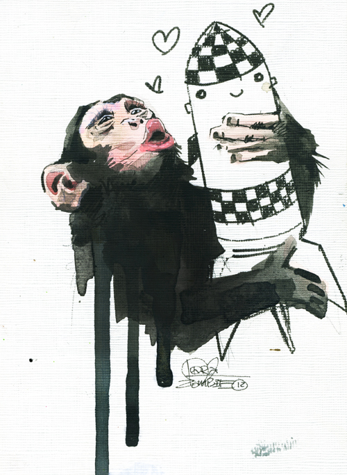 Monkey, watercolor painting by Russian artist Lora Zombie