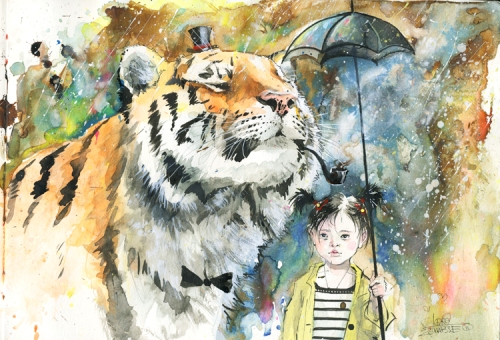 Mr. Tiger, watercolor painting by Russian artist Lora Zombie