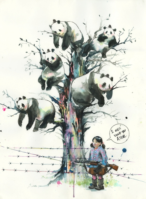 Panda tree, watercolor painting by Russian artist Lora Zombie