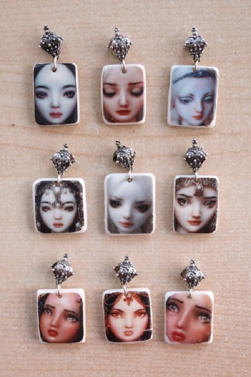 Porcelain decal pendants. Artwork by Doll Artist Marina Bychkova