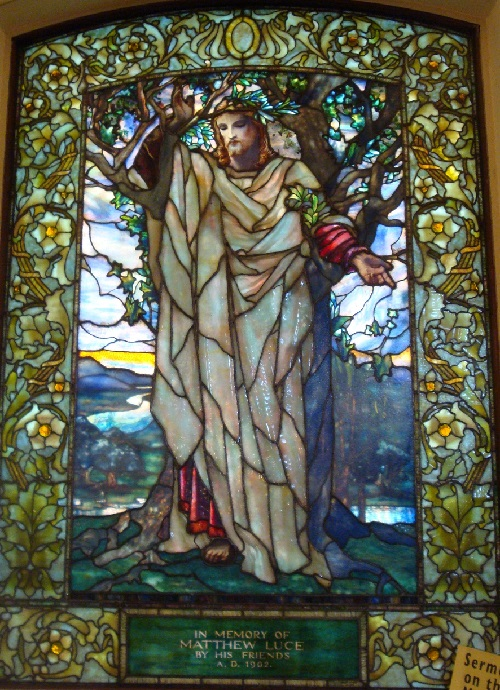 stained glass window created by Louis Comfort Tiffany in Arlington Street Church (Boston) depicting the Sermon on the Mount