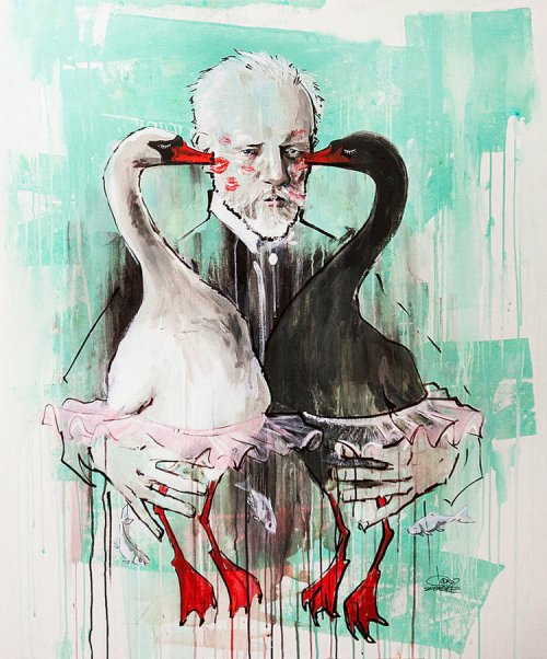 Tchaikovsky, watercolor painting by Russian artist Lora Zombie