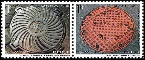 Stamps dedicated to manhole covers