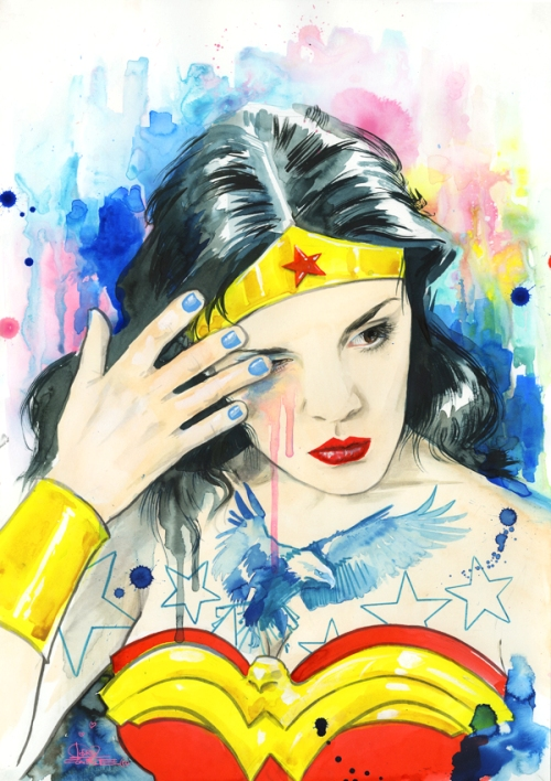 Wonder woman, watercolor painting by Illustrator Lora Zombie