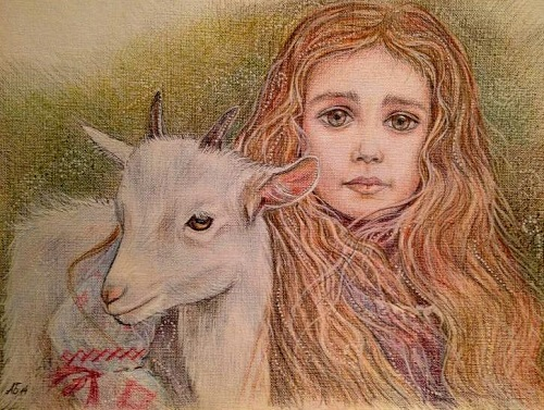 A Girl hugging a goat, a shepherdess. Symbol of the coming 2015. Watercolor on paper